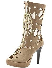Coolulu Damen Stiletto High Heels Gladiator Cut Out Stiefel Zum Schnüren  Halbstiefel mit 10cm Absatz 6e8260c6f9