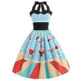 ibaste Women's Christmas Halter Neck Dress 1950s Vintage Swing Tea Dress