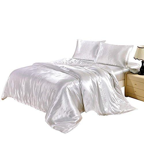 TanNicoor Satin Bettwäsche-Set mit Seidenfeeling, Set aus 1Spannbettlaken & 1 bzw. 2Kissenbezügen, 50 % Baumwolle,  50 % Polyester, weiß, 135 x 200 cm (Seide Bettwäsche-sets)