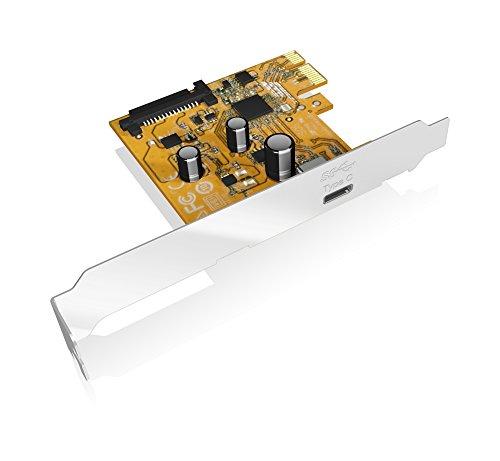 Icy Box IB-U31-01 PCI-Express 3.0 (x1) Erweiterungskarte mit 1x USB 3.1 Anschluss (Gen 2 - Type-C), 10 Gbit/s, Full Profile & Low Profile, Silber - Pci-express-x1-karte
