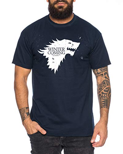 Coming Herren Game T-Shirt Cooles Thrones Shirt, Farbe:Dunkelblau, Größe:4XL