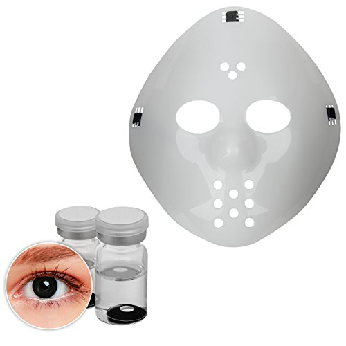 Oramics Horror Jason Maske – Halloween Kostümidee für Erwachsene – Inklusive Smiffy´s Kontaktlinsen Schwarz, Horrorfilm Maske für Männer und Frauen – Gruselige (Ideen Horrorfilm)