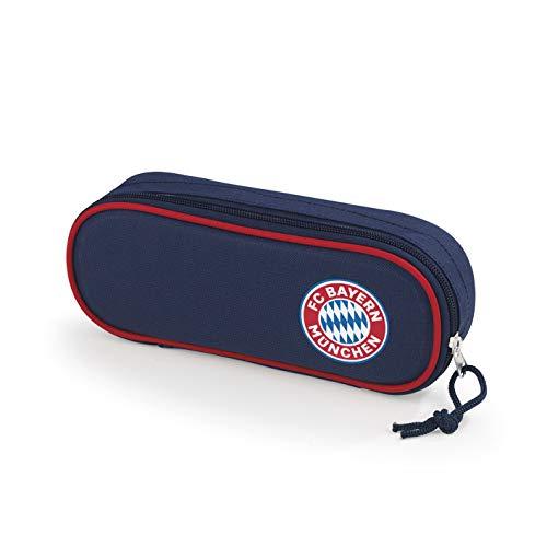 Preisvergleich Produktbild FC Bayern München Mäppchen / Single Faulenzer Federmappe für Jungen und Mädchen / FCB Fanartikel Schulbedarf Federmäppchen für Kinder (Blau / Rot)