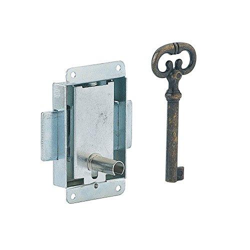Serrurerie de Picardie 00800242 Möbelschloss, polierte Stahlplatte, 40 mm, 1 Schlüssel
