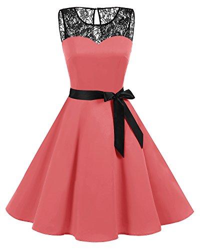 bbonlinedress 1950er Ärmellos Vintage Retro Spitzenkleid Rundhals Abendkleid Coral ()