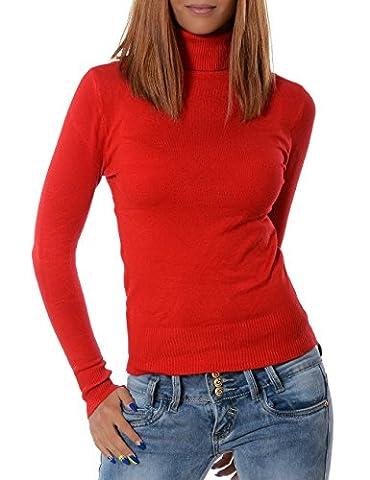 Damen Rollkragen Pullover (weitere Farben) No 13452, Farbe:Rot;Größe:One Size