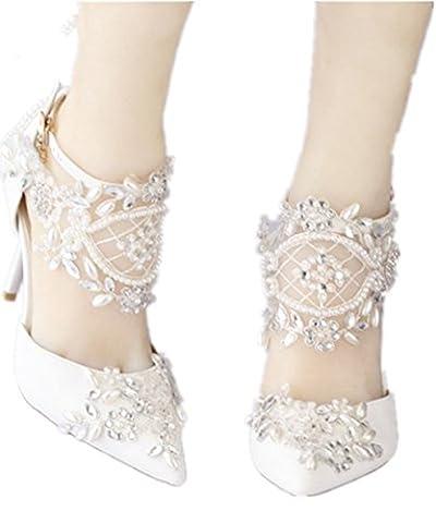 SZXC Ladies Women's Rhinestones Satin Wedding Bridal Prom Evening Court Low Heel Shoes , 39 schedule , 9cm with high