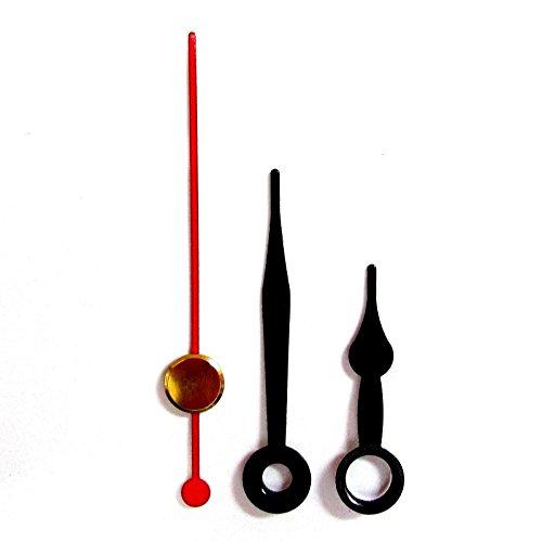 Ersatz-Uhrzeiger für Quarz-Uhrwerke, Metall, Presspassung, erhältliche Größen 24- 130mm, Schwarz, metall, schwarz, 36mm Black