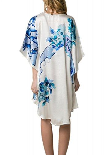 Prettystern - 100% Crepe Satin SEIDE Kimono Nachthemd mit handbemalter chinesischer Pinsel Malerei YBS801 elfenbeinweiß