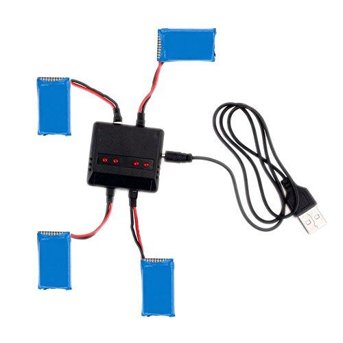MPTECK @ Lipo Batterie Akku 3,7V 380mAh x4 + Ladegerät für RC Quadcopter Hubsan X4 X 4 H107D H107C FPV Drone - 3