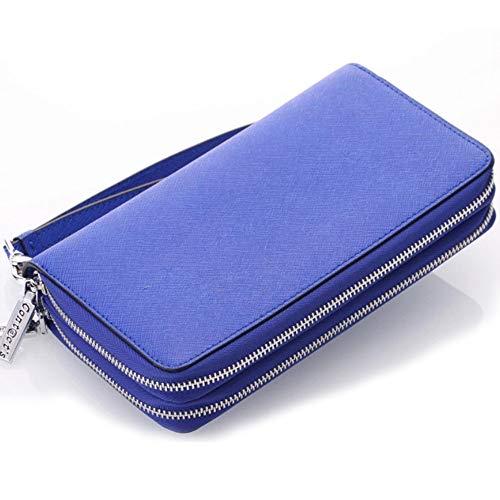 Cross-grain-leder (XY-women's bag Leder Damenbrieftasche Cross-Grain Leder Doppelreißverschluss Hand Geldbörse Multifunktionsschlüssel Tasche Mode (Color : Blue, Size : S))