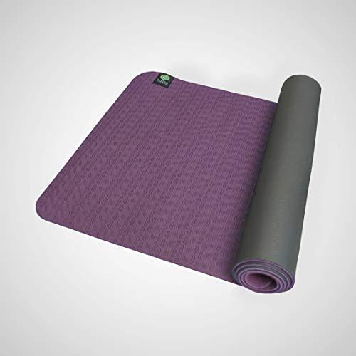 Kulae ECOmat Yogamatte, umweltfreundlich, wendbar, leicht, rutschfest, tragbar, violett/grau, 5mm x 72