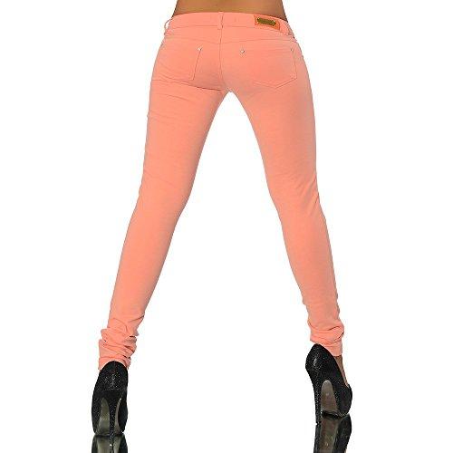 G701 Damen Jeans Look Hose Röhre Leggings Leggins Treggings Skinny Jeggings Orange