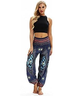 DAYLIN Mujer Casual Suelto Hippie Yoga Pantalón Baggy Boho Aladdin Pantalones Harem
