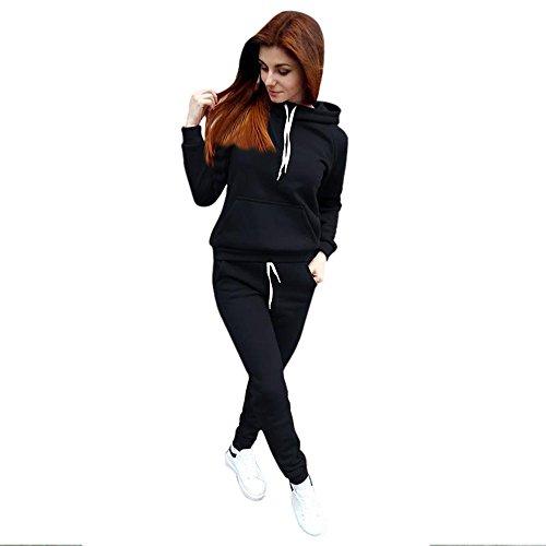 Damen Hoodie Pullover Set Btruely Herbst Winter Mädchen Kapuzenpullover + Hosen Hooded Sweatshirt Mode Sportanzug Damen Zweiteiliges Outfit (Schwarz, S) (Crew Jeans Gestreifte)