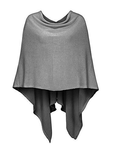 Cashmere Dreams Poncho-Schal aus Baumwolle - Hochwertiges Cape für Damen - XXL Umhängetuch und Tunika - Strick-Pullover - Sweatshirt - Stola für Sommer und Winter Zwillingsherz (d.grau)