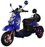 Green Power 3 Wheeled Retro Style Electric Mobility Scooter (Blue)