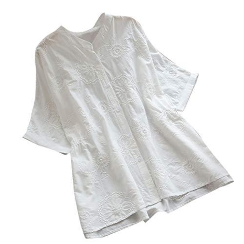 Damenmode Stickerei atmungsaktiv solide lässige Bluse Top, Sommer V-Ausschnitt Kurzarm Leinen Tunika Shirts Größe -