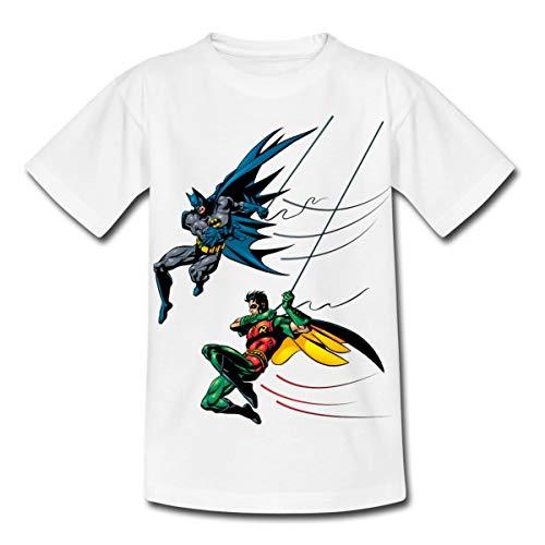 Spreadshirt DC Comics Batman and Robin Kinder T-Shirt, 122/128 (7-8 Jahre), Weiß