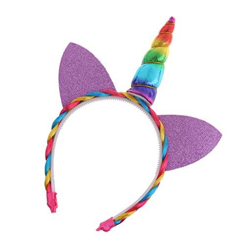 Blesiya Prinzessin Einhorn Horn Ohr Stirnband Tiara Kinder Mädchen Party Fancy Dress Zubehör - Regenbogen