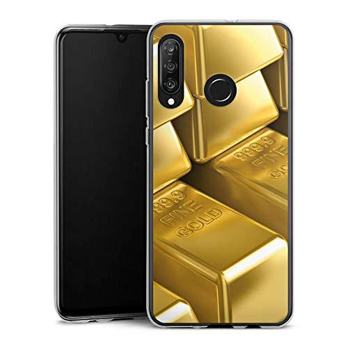 DeinDesign Silikon Hülle kompatibel mit Huawei P30 Lite Case Schutzhülle Goldbarren Gold Barren