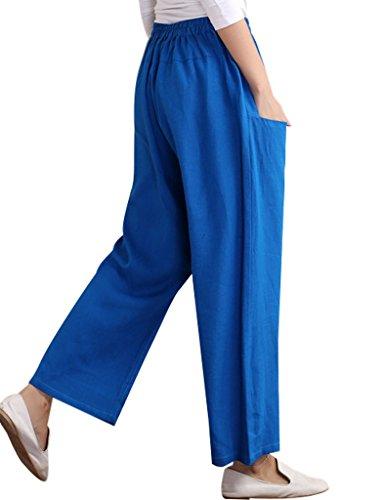 Youlee Mujer Cintura elástica Entrepierna Pantalones Azur