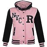 A2Z 4 Kids® Jungen Mädchen Mode Fox NYC Baseball Mit Kapuze Jacke - B.B NYC Baby Pink & Black 3-4