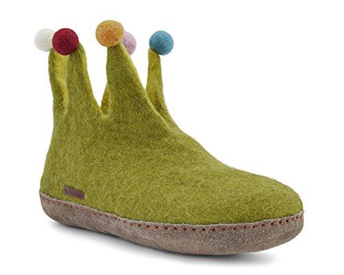 Betterfelt Handgefilzte Wollene Hausschuhe für Damen - Natürliche Wolle - Ledersohle - Große 41 - lindgrün - Fairtrade - Narr Filzstiefel
