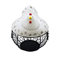 Chicken Shape Ceramics Metal Egg Basket Decorative Kitchen Storage Baskets Holder Rack