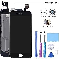 Beefix Écran Compatible pour iPhone 6 Noir 4,7'' - Ecran LCD Pré-assemblé avec Capteur de Proximité, Caméra Frontale, Haut-Parleur Oreillette, Plaque Arrière en Métal et Kit D'outils de Réparation