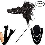 KQueenStar Damen Accessoires Set Halskette Handschuhe Zigarettenhalter Stirnband 20er Jahre 1920s Charleston Gatsby Retro Stil Kostüm Ball (Black6)