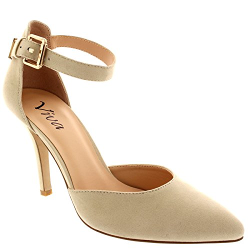 Womens Ankle Strap Low Mid Heel Office Work Court Shoes Pointed Toe...