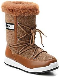 HERIXO Damen Schuhe Winter-Stiefel Snowboots Schrift Logo geschnürt  Lammfellimitat Kunstfell warm dick gefüttert 549cfc2b80