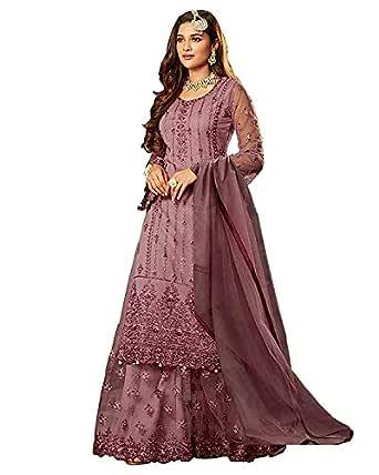 Ethnicset Women's Net with Santoon Sharara Salwar Suit (FN 22216; Purple; Free Size)
