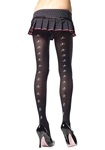 Leg Avenue - Nylon Strumpfhose mit Totenkopf Symbolen - schwarz - One Size