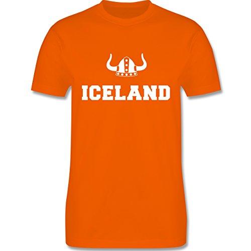 Länder - Iceland + Wikingerhelm - Herren Premium T-Shirt Orange