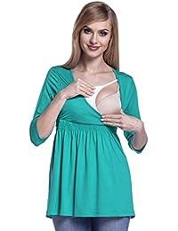Happy Mama. Para Mujer top premamá de lactancia cuello redondo doble capa. 280p
