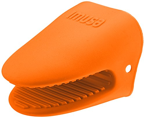IMUSA Heat Resistant Silicone Mini Oven Mitt, Cooking Pinch Grabber Grips, Includes 1 Mitt, Great for Handling Hot Cookware and Pans, Orange
