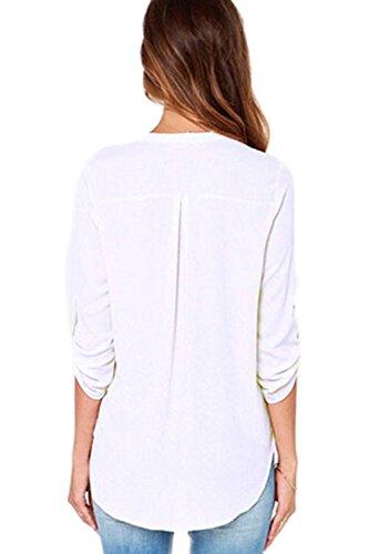 Frauen lässig locker v-neck-T-Shirt White