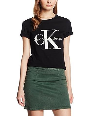 Calvin Klein Jeans Damen T-Shirt SHRUNKEN TEE TRUE ICON, Gr. Large, Schwarz (Meteorite 965) (Klein Calvin)