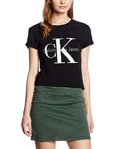 Calvin Klein Jeans Damen T-Shirt SHRUNKEN TEE TRUE ICON, Gr. Small, Schwarz (Meteorite 965)