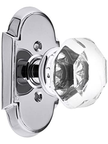Arched Rosette Set With Old Town Crystal Knobs Privacy In Polished Chrome. Doorsets. by Emtek