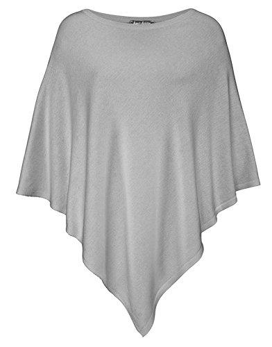 Poncho da donna in cotone a forma di cuore Zwilling ❀ all-qualsiasi stile di moda per le donne come alternativa Cap/strick-Giacca // carminda strick-pullover/prodotti o maglione lavorato a maglia nero Grigio chiaro