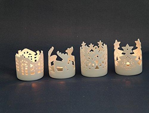 Porzellan-Teelichthalter Mattweiß, 4er SET 7,6x7,6x9cm NEU Kerzenhalter Teelichtständer