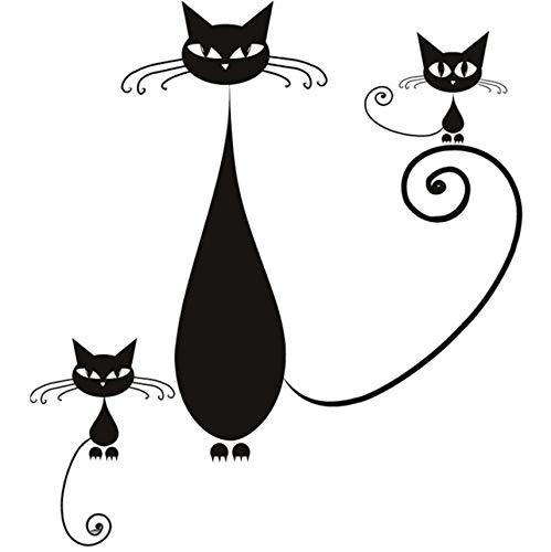 Knncch Diy Home Decor Abnehmbare Vinyl Siam Katze Mutter Und Kätzchen Wandaufkleber Wohnzimmer Sofa Hintergrund -