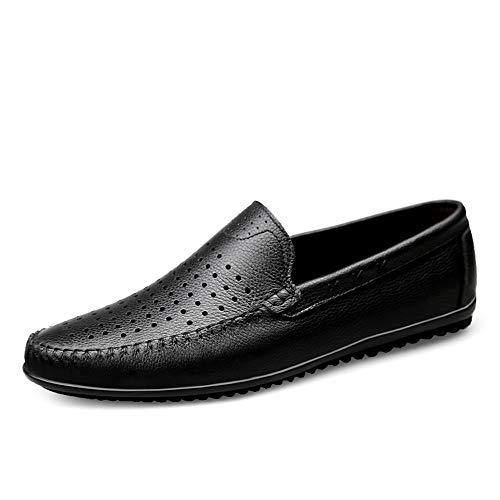 HILOTU Driving Loafer für Männer Casual Slip On Style Leder Weiche Sohle Business Bean Schuhe Boat Moccasins (Color : Schwarz, Größe : 46 EU)
