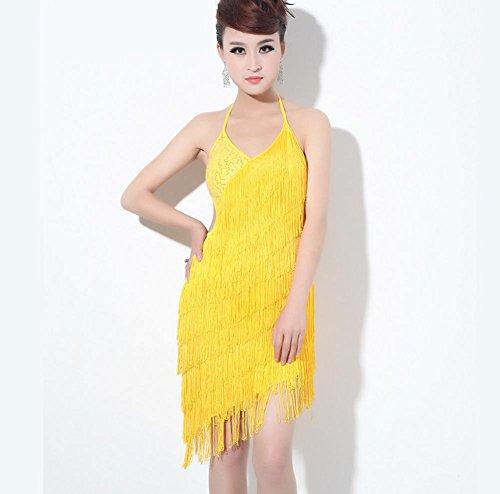 Wgwioo Abendkleid Damen Menschen Sue Latein Tanz Tragen Kleid , Yellow , F