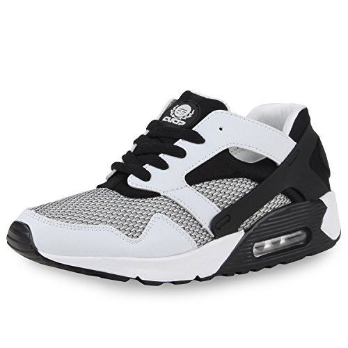 Damen Herren Unisex Laufschuhe Neon Runners Casual Schuhe Sportschuhe Weiss Schwarz Brito