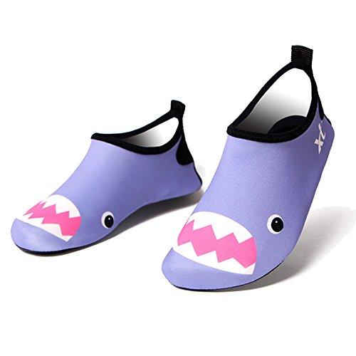 Free Fisher Jungen/Mädchen Strandschuhe Kinder Wasser Schuhe Gestreift, Lila, Gr. 25-26.5(Herstellergröße: 29)