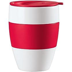 Koziol AROMA TO GO - Taza de plástico, sin asa, térmica, 400 ml, tapa para beber y banda de goma, color blanco y frambuesa